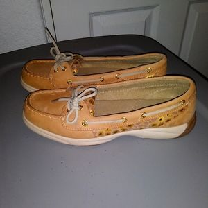 Sperry Top Siders with gold accents